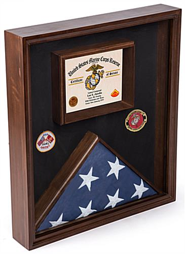 Flag Display Case for Certificate with Title 4 Banner Frame