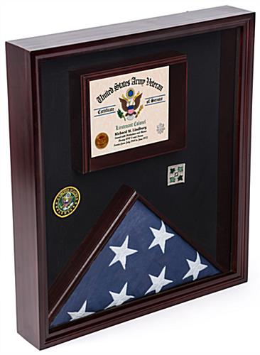 Certificate Shadow Box for Flag with Velvet Fabric Backer