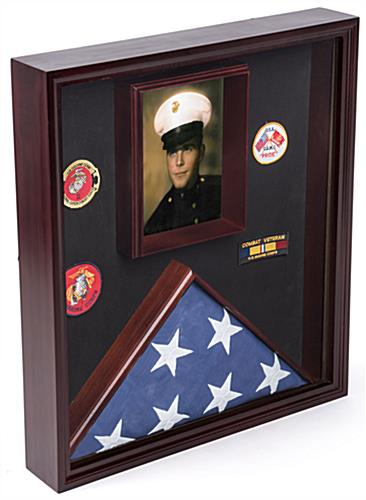 Flag and Certificate Display Case with Velvet Fabric Backer
