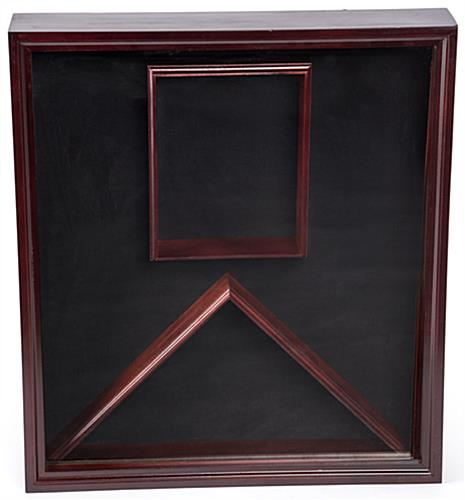 Flag and Certificate Display Case with Mahogany Finish