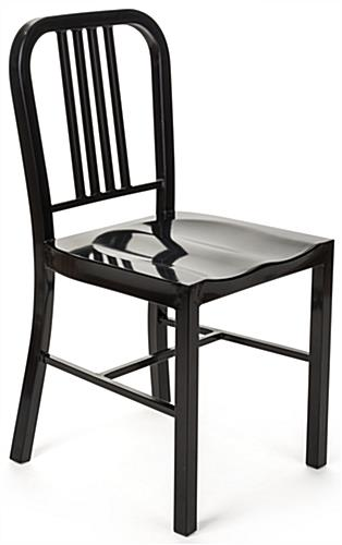 Black Metal Café Chair with Powder-Coated Finish