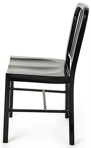 Black Metal Café Chair with Molded Seat