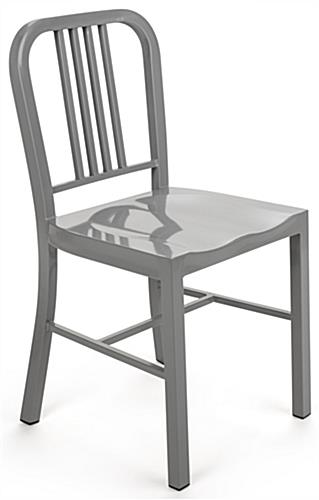 Silver Dining Side Chair with Powder-Coated Metal