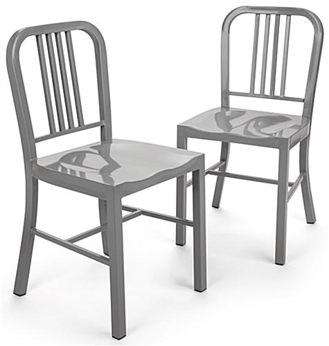 Silver Dining Side Chair with Fully Welded Frame