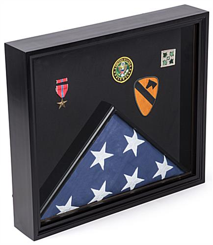 Flag Shadow Box Black Display Case with Multiple Compartments