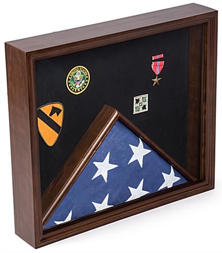 Cherry Flag and Memorabilia Display with Solid Pine Construction