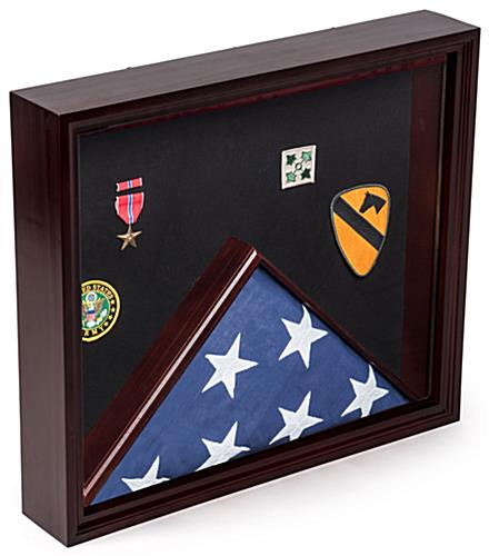 Flag and Medal Display Case with Title 4 Banner Holder