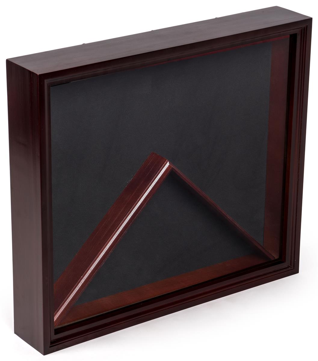 Flag And Medal Display Case Mahogany Finish W Glass Front