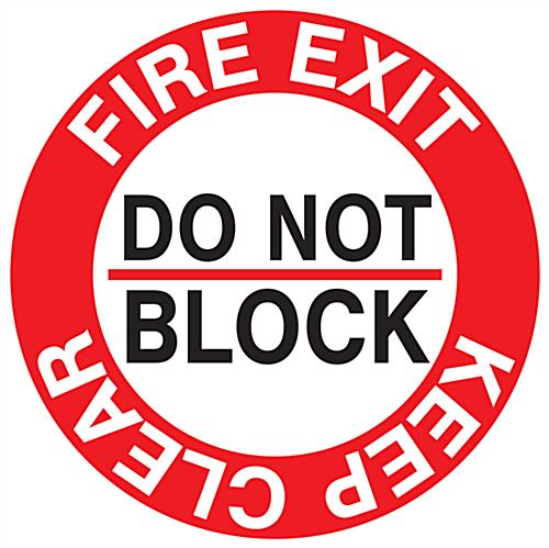 Fire safety exit sticker with red, black, and white graphics