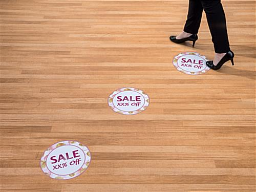 Personalized floral floor sale sticker with high visibility advertising message