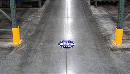 Floor safety aisle sticker shown in industrial setting