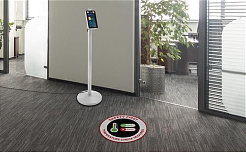 Bi-lingual temperature check floor sticker with full bleed and UV printing