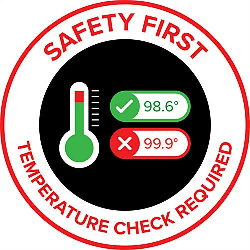 Safety first graphic floor decal with pre-printed message