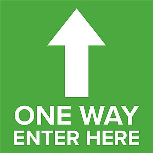 One way arrow sticker with pre-printed graphics