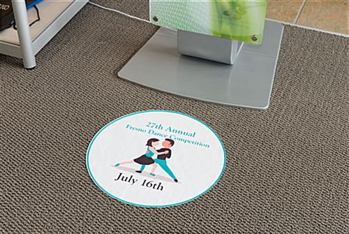 Small round trade show flooring decal with adhesive backing