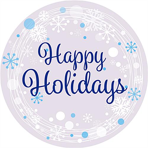 "Pre-printed 12"" x 12"" round ""Happy Holidays"" floor decal"