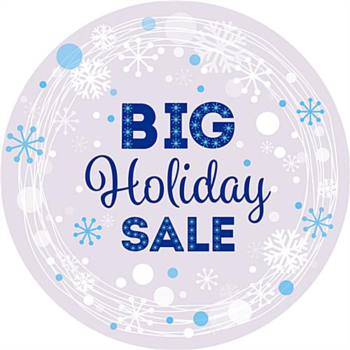 "12"" x 12"" round ""Holiday Sale"" floor decal with snowflakes"