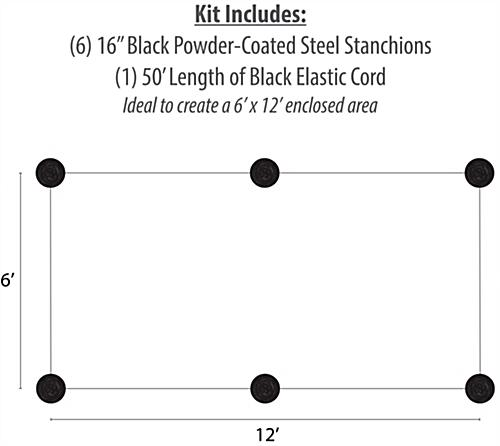 6-Stanchion Black Low Profile Barrier System for 6' x 12' Barricade