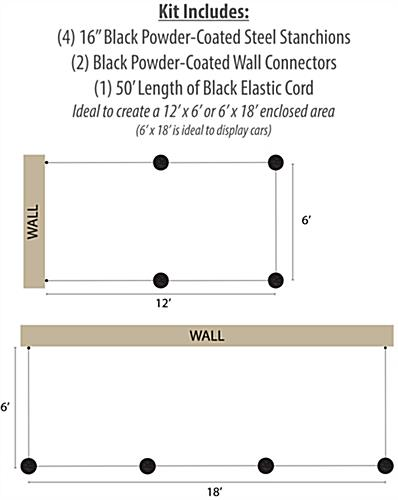 2 Wall Receptors Included with 4-Post Low Profile Stanchion Barrier System