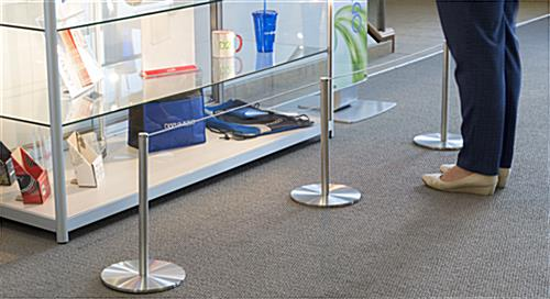 8-Barrier Silver Low Profile Stanchion Set Surrounding Museum Display Case