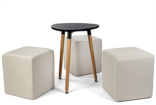 Low triangular MDF coffee table seating set with 15 inch high ottomans