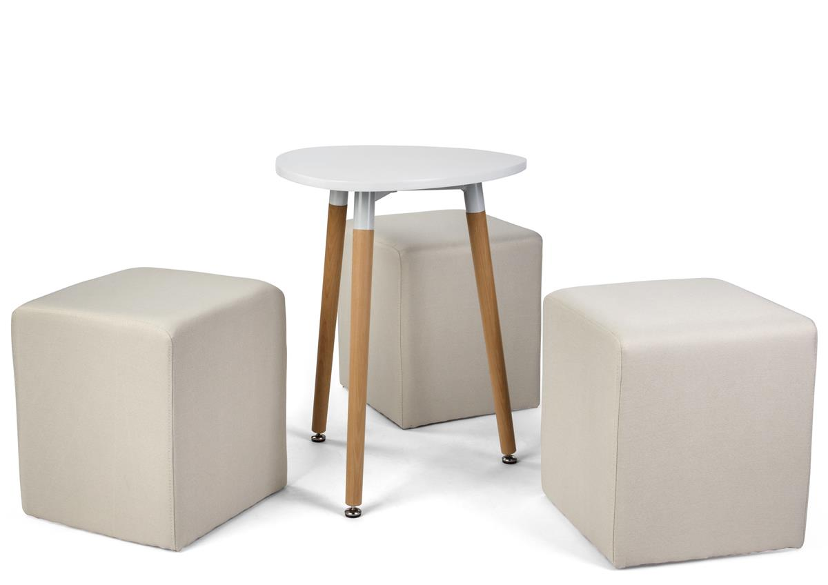 Coffee Table Seating Set W 3 Cube Seats 25 H Triangular Mdf Tabletop White