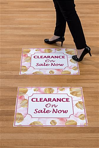 "Floral retail clearance floor stickers with pre-printed ""On Sale Now"" message"