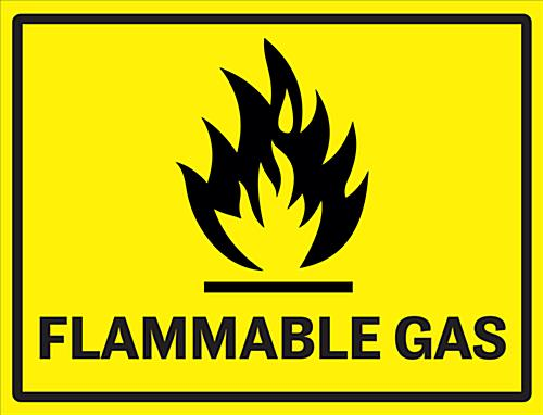 "24"" x 18"" flammable gas industrial warning sign"