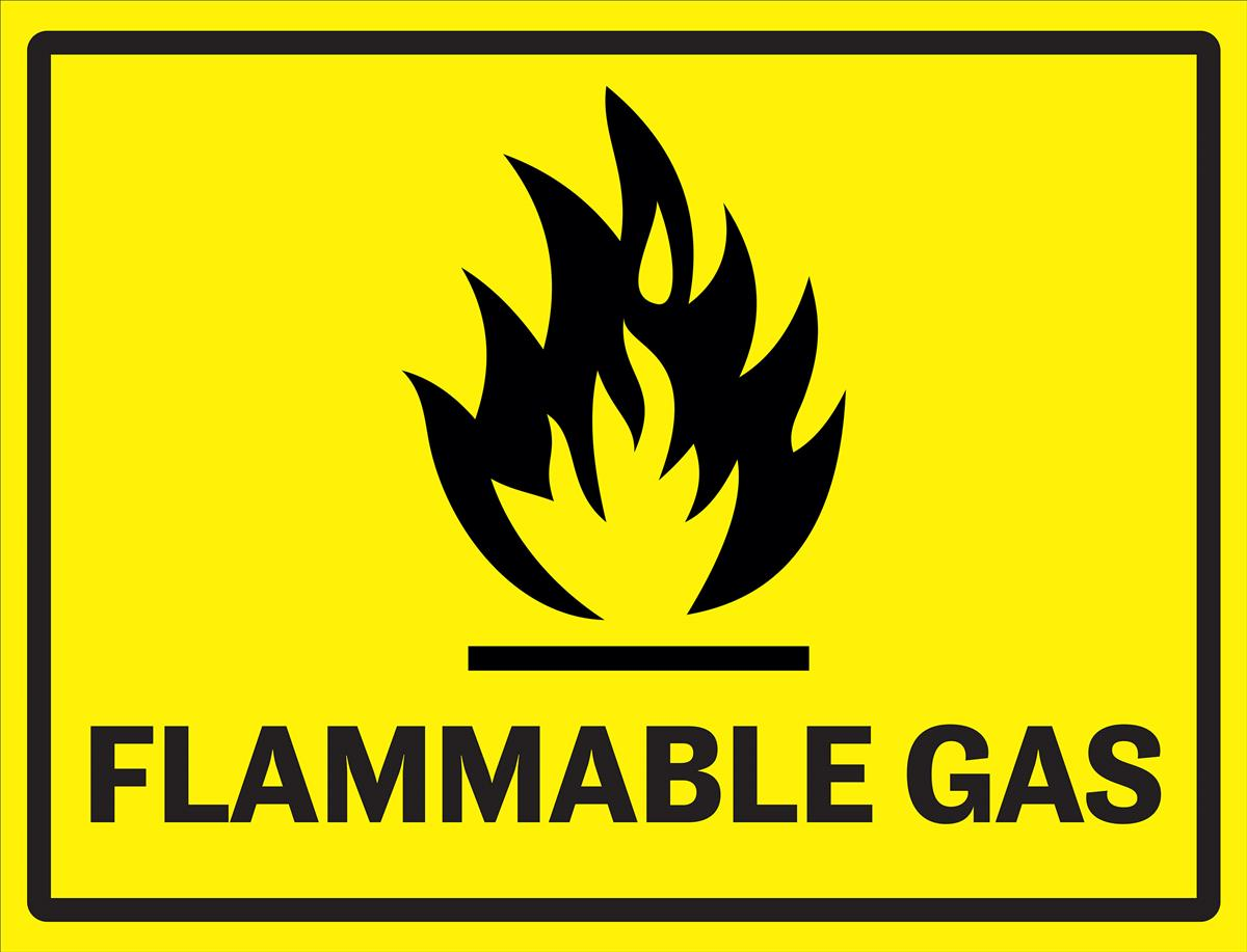 """24"""" x 18"""" Pre-Printed Floor Decal, Safety Message, """"Flammable Gas"""" - Yellow"""