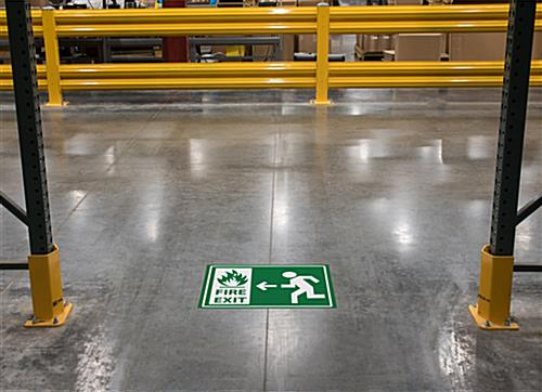 Non-slip safety fire exit sign with textured surface for high traffic areas