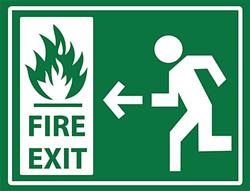 "24"" x 18"" non-slip safety fire exit sign"