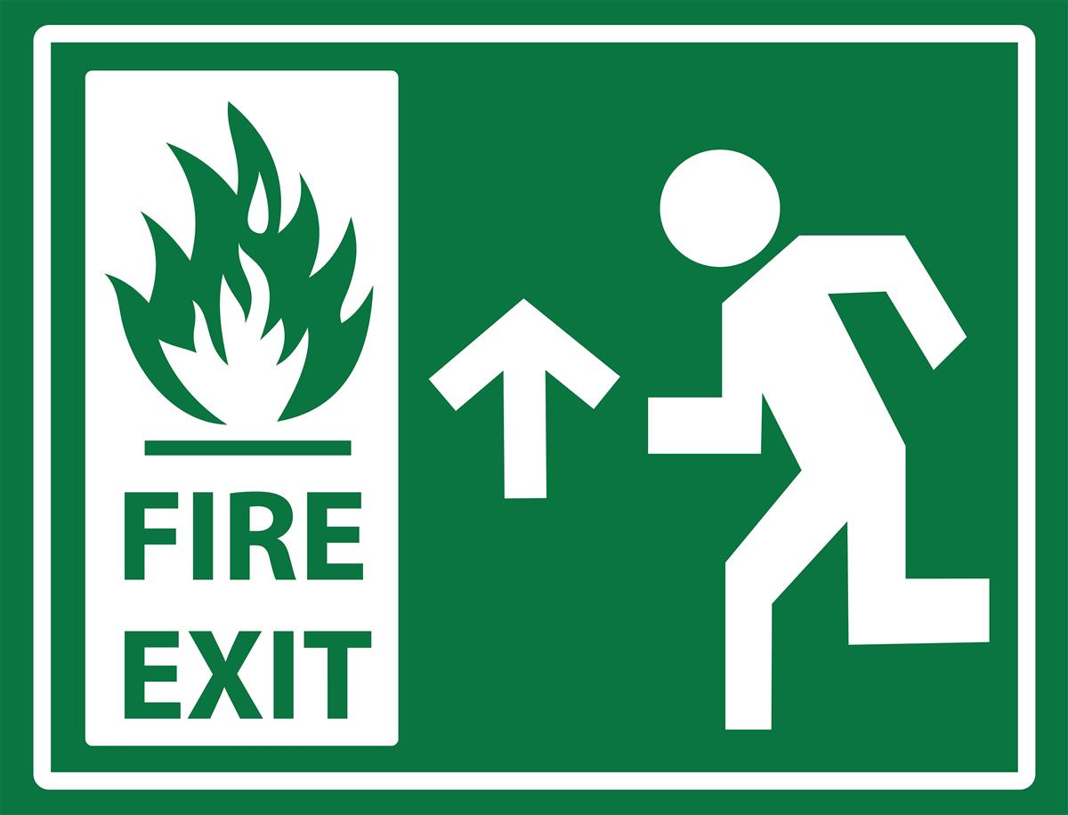 Non Slip Stick On Fire Exit Safety Sign 24 Quot X 18 Quot Guide Sign