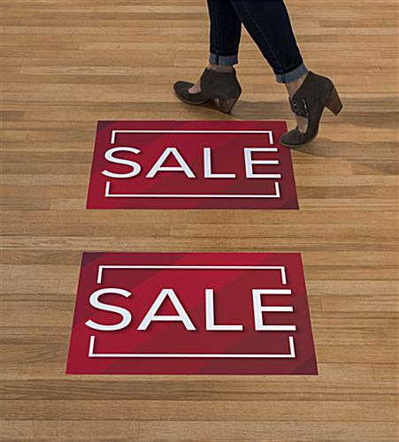 Durable and removable SALE walk on red floor decals