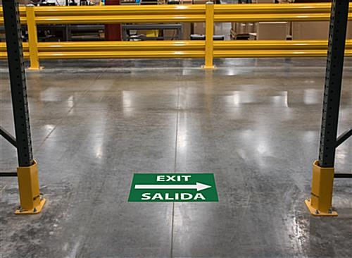 Vinyl bilingual exit safety decal sign with non-slip surface