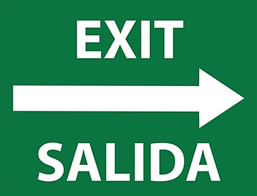"24"" x 18"" bilingual exit safety decal sign"