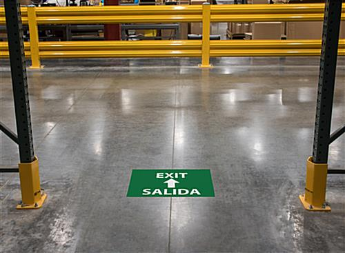 Vinyl bilingual exit safety stick-on floor sign