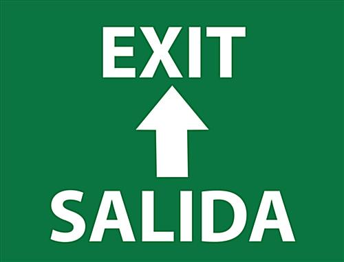 "24"" x 18"" bilingual exit safety stick-on floor sign"