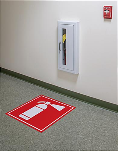 Industrial fire safety decal shown in workplace setting
