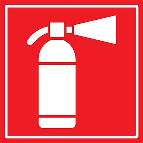 Square red and white industrial fire safety decal