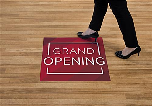 Red GRAND OPENING walk on floor stickers for 1 to 3 months of use