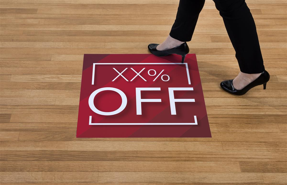 """24"""" x 24"""" Pre-Printed Floor Decal, Square, """"XX% Off"""" – Red Stripe"""