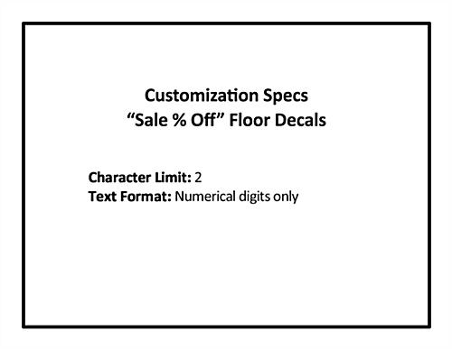 Personalized SALE store floor graphics with custom spec limits