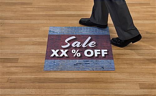 Personalized SALE store floor graphics applied to hardwood