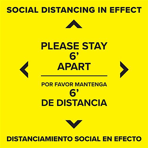 English Spanish bilingual distancing floor decal with removable high-tack adhesive