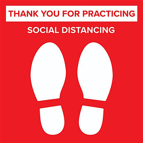 Social distance floor sticker with pre printed physical distancing graphics