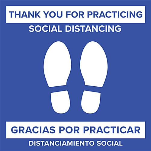 "Square 24"" bilingual social distancing floor sticker for public space safety"
