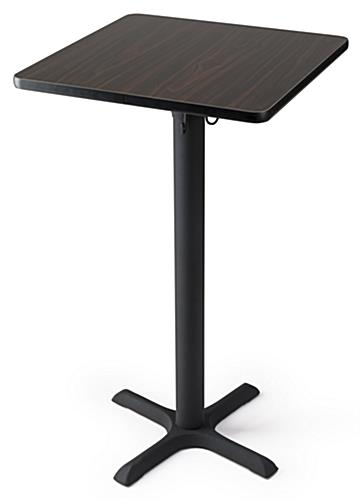 Tall square pub table for taprooms and bars