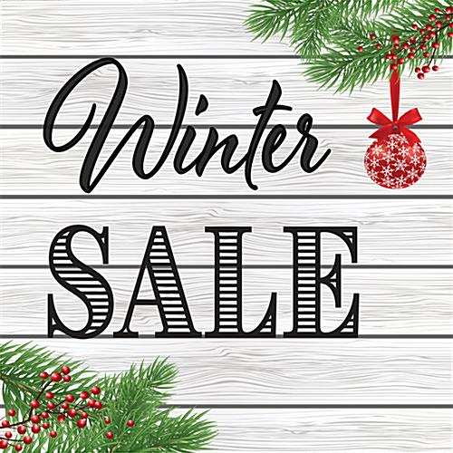 "24"" x 24"" square ""Winter Sale"" floor decal with traditional theme"