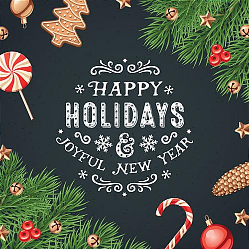 "24"" x 24"" square ""Happy Holidays"" floor decal with festive message"
