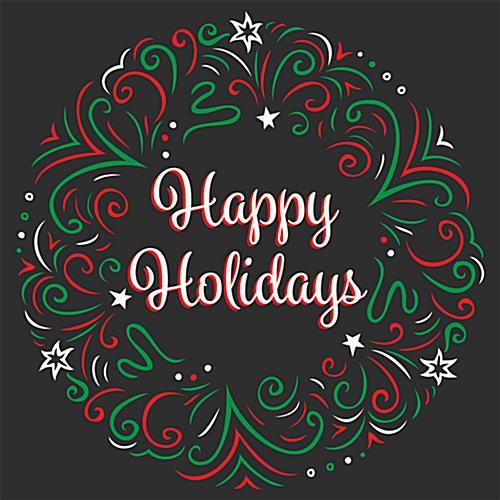 24 X 24 Seasonal Floor Decal Happy Holidays Message